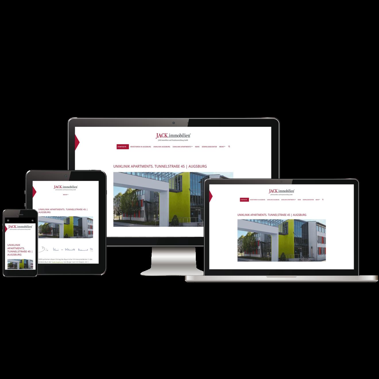 Projektwebsite - Ansicht auf verschiedenen Medien