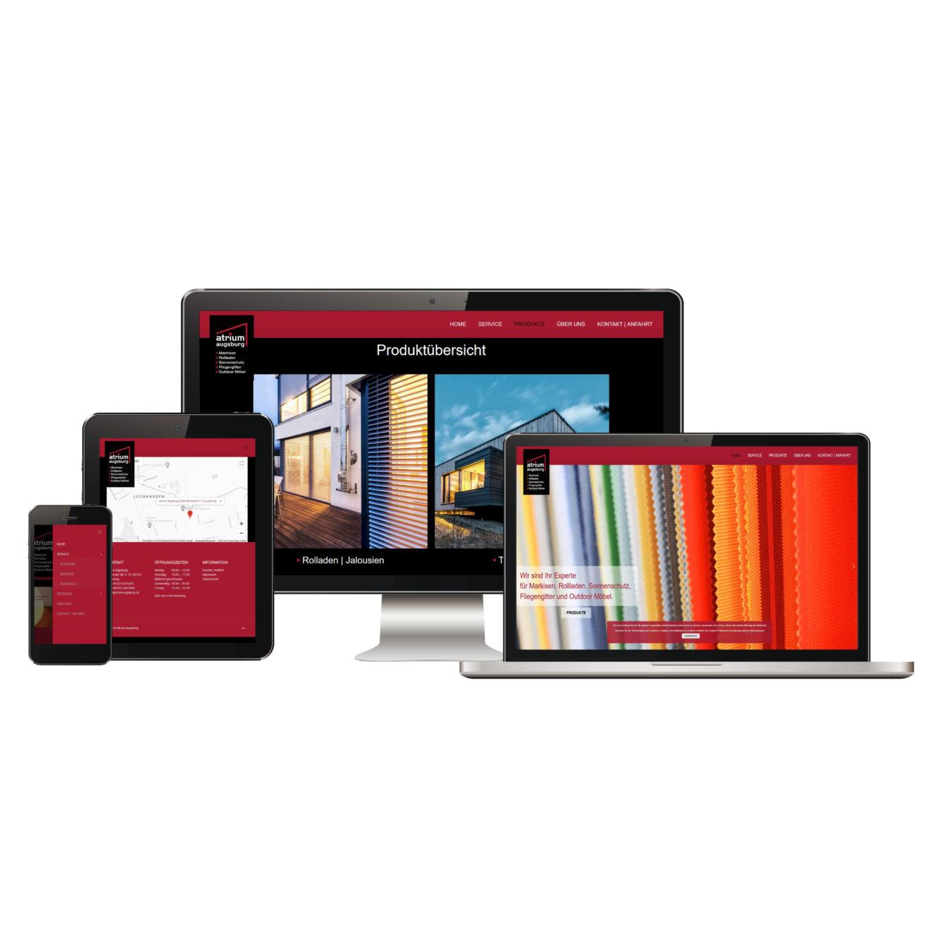 Unternehmenswebsite - Ansicht Homepage auf verschiedenen Devices