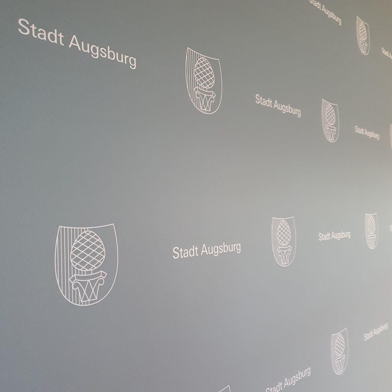 Textildruck für Pressewand der Stadt Augsburg