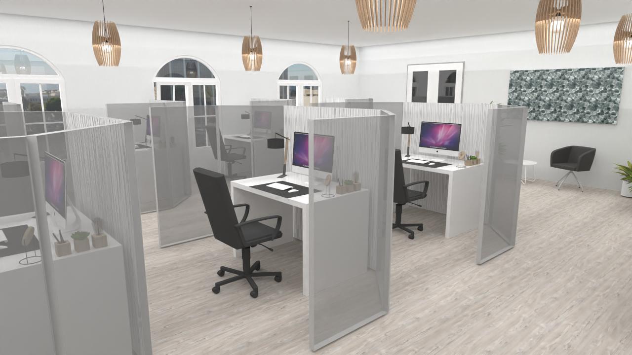 Planung Trennwände Corona taugliches Büro